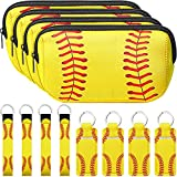 12 Pieces Baseball Print Makeup Bag Baseball Lip Balm Lanyard Keychain Wrist Strap Set, Waterproof Neoprene Bag Softball Makeup Organizer Chapstick Keychain Holder Softball Neoprene Wristlet Keychain