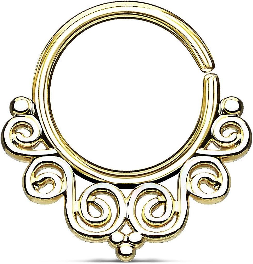 BodyJewelryOnline Septum Piercing Vintage Filigree Bendable Design Perfect for Nose Septum Nose Rings Hoop Cartilage Tragus Body Piercing Jewelry