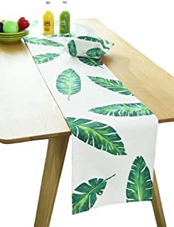 BOXAN Durable Banana Leaf Table Runner Linen Burlap with Green Tropical Leaf Monstera Palm Leaves for Spring Summer Wedding Party Birthday Party Home Decor, Hawaii Luau Party Decor, 12x72 inch