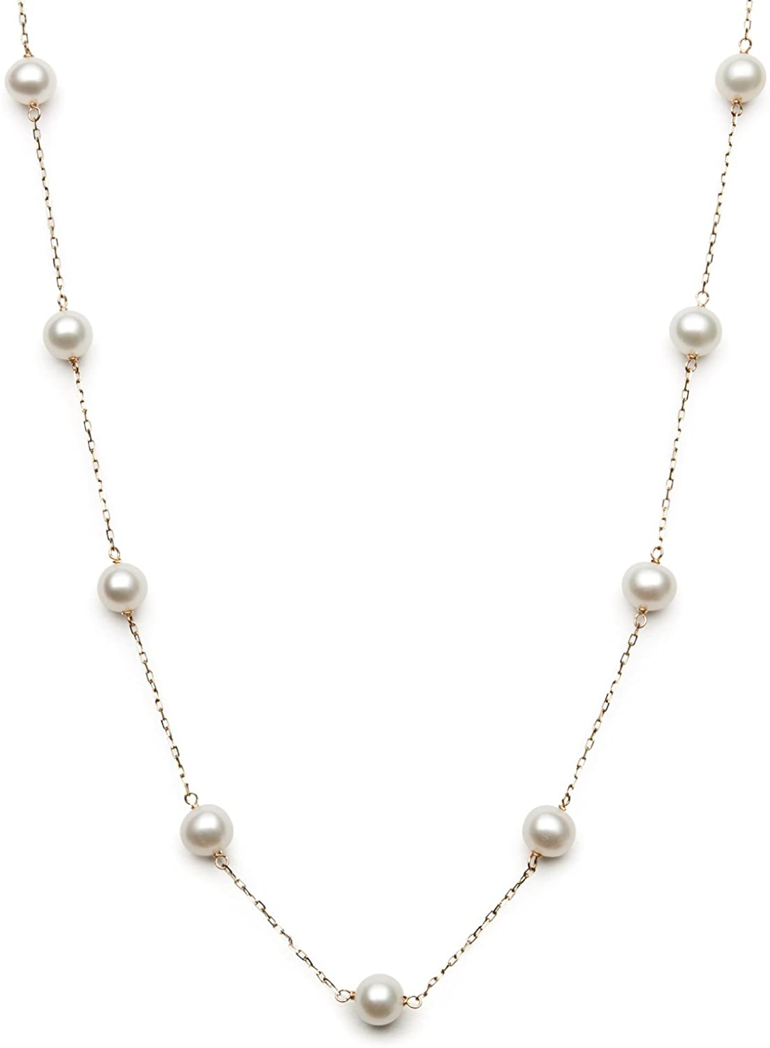 10K Gold Cultured Freshwater Pearl Station Chain Necklace,18