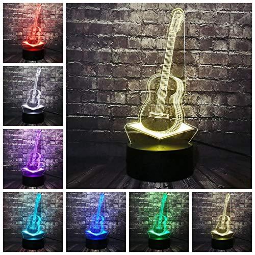 ZSSYD Led Nachtlicht Für Kinder, 16 Farben Led Tischlampe Kunst Musikinstrument Musikinstrument Klavier Cello Austausch Rock Raumdekoration Stimmung Nachtlicht Festival Geburtstagsgeschenk Mädchen 3D
