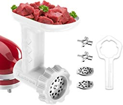 Antree Food Grinder Attachment for KitchenAid Stand Mixers, Includes Two Stainless Steel Blades and Grinding Plates, White
