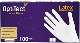 Latex Gloves Powder-Free, Non-Sterile, Food Safe, large, Box of 100
