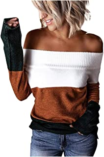 Fossen Jerséis Mujer Originales sin Tirantes Suéter de Punto Ahuecado, Sudaderas Mujer Tumblr Invierno
