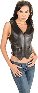 Women's Vest with Zipper Black Genuine Leather