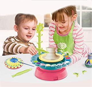 Pottery Wheel Kit for Kids, Ceramic Machine Educational Handicraft DIY Toy with 800g Clay, for Boys Girls Beginners