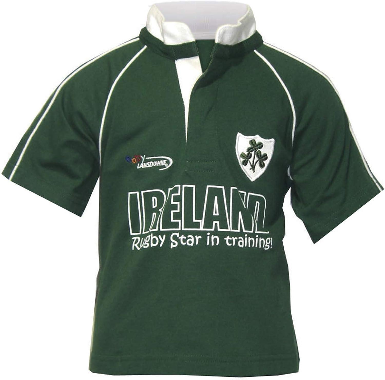 Irish Baby Boys Rugby T-Shirt 100% Cotton Green Ireland Rugby Star in Training