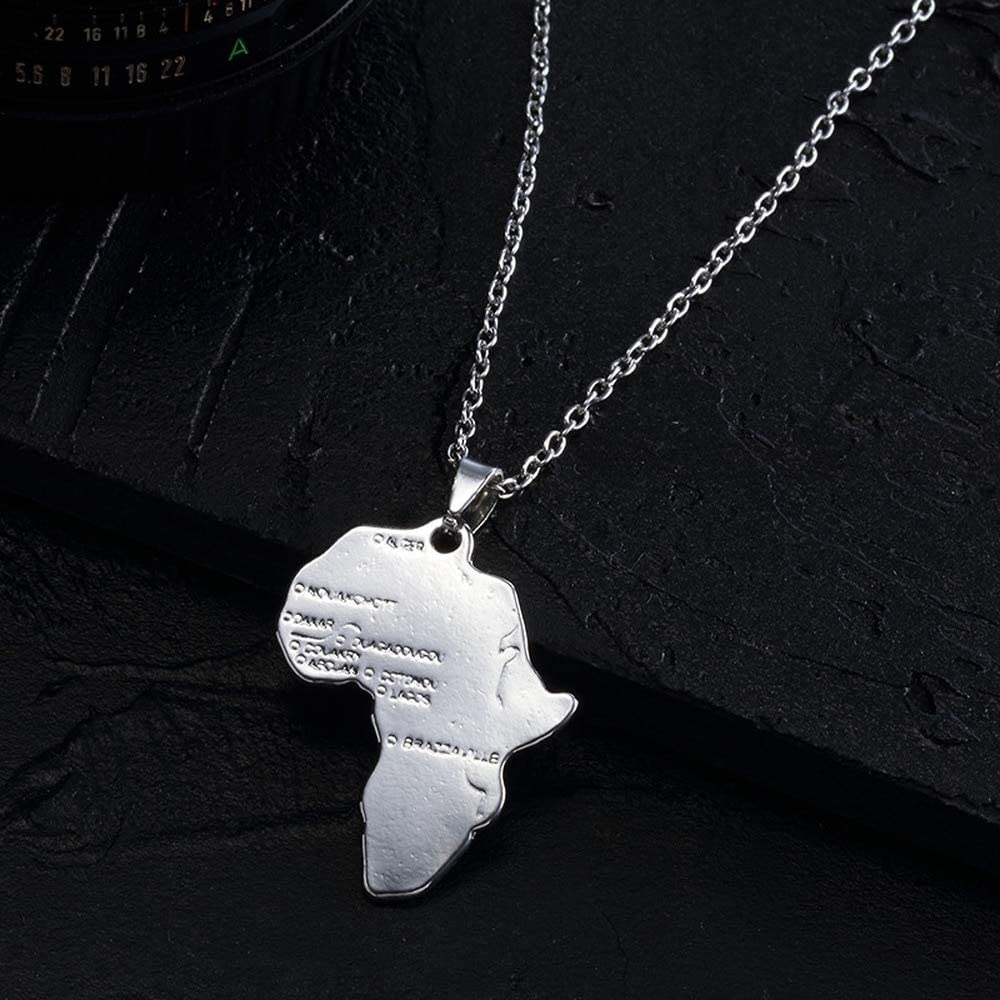SWAOOS Style Personality Statement Africa Map Pendant Necklace Collar Jewelry Map Necklace for Women Men Jewelry Gift 50Cm Chain