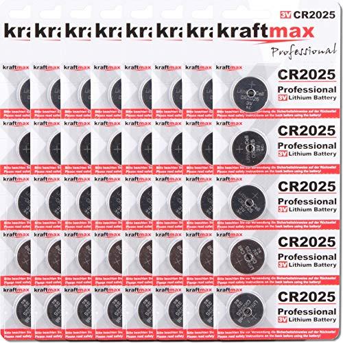 kraftmax 40er Pack CR2025 Lithium Hochleistungs- Batterie / 3V CR 2025 Knopfzelle für professionelle Anwendungen - Neuste Generation