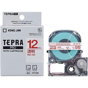 キングジム テープカートリッジ テプラPRO 12mm ST12R 透明 赤文字