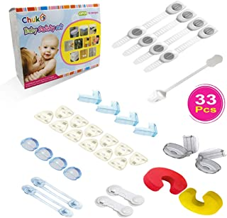 CHUKU Baby Safety Kit -33Pcs Baby Proofing Set with Cabinet Locks, Latches, Corner Protectors, Outlet Plug Protectors, Ove...
