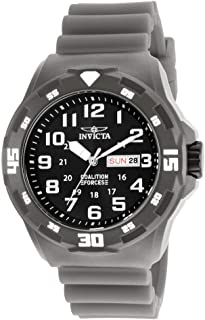 Invicta Men's Coalition Forces Stainless Steel Quartz Watch with Silicone Strap, Grey, 21 (Model: 25325)