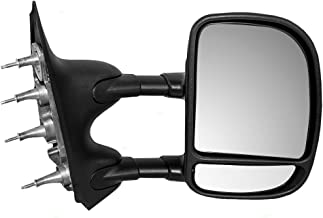 Manual Tow Telescopic Side View Mirror Dual Arms Double Swing Passenger Replacement for 03-16 Ford E-Series Van 7C2Z17682DA