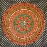 MOMOMUS Tapiz de Mandala - Hecho a Mano con Algodón 100% y Tintes Vegetales Naturales - Adornos de Arte para Pared de Hogar, Pareo/Toalla de Playa Grande, Sofá (Verde B, 210x230 cm)