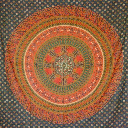 MOMOMUS Tapiz de Mandala - Hecho a Mano con Algodón 100% y Tintes Vegetales Naturales - Adornos de Arte para Pared de Hogar, Pareo/Toalla de Playa Grande, Sofá (Verde B, 210x230 cm) 🔥
