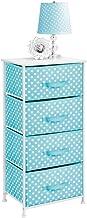 mDesign Tall Vertical Dresser Storage Tower - 4 Drawers - Sturdy Steel Frame, Wood Top, Easy Pull Fabric Bins - Multi-Bin ...
