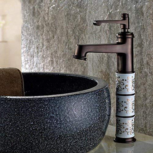 KANJJ-YU Grifo de lavabo mezclador grifo cascada grifo baño antiguo Los baños son de oro fregadero lavabo lavabo de grifo de cocina caliente y fría negro A ALTA Bañera Grifo de palanca cromado
