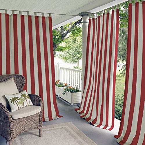 """Elrene Home Fashions Highland Stripe Indoor/Outdoor Adhesive Loop Fastener Tab Top Window Curtain Panel for Patio, Pergola, Porch, Deck, Lanai, and Cabana, 50""""x84"""", Red"""