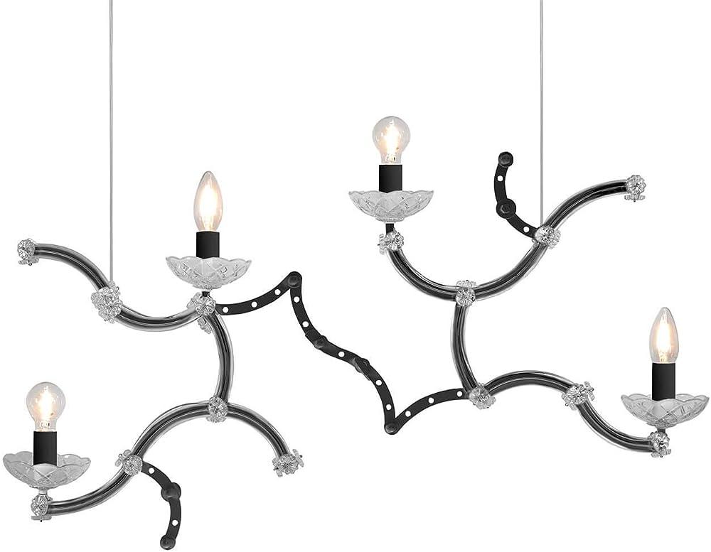 Karman ghebo, lampada a sospensione con 4 sorgenti luminose,in metallo  nero semilucido SE1462N INT
