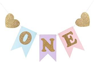 LXZS-BH Blue Pink 1st Birthday Banner, Glitter ONE Heart Shapes Baby Girl, Baby Shower, High Chair Decoration, Wall Decor