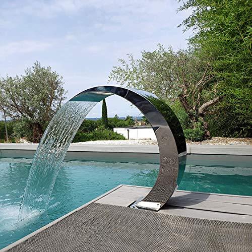 GUOAILAN Fontana per Piscina per Piscine Interrate Laghetto da Giardino, Fontana per Cascata in Acciaio Inossidabile Argento 400 * 200 * 200mm