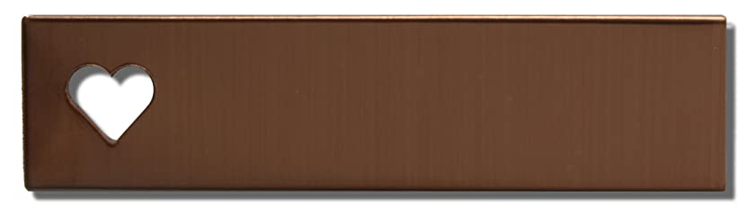 RMP Stamping Blanks, 1/2 x 2 Inch Rectangle With 1/4 Inch Horizontal Heart - Left Side, 16 Oz. Copper, 24 Gauge - 10 Pack