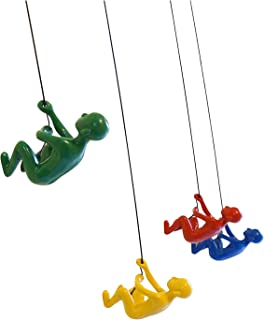 Climbing Man set of 4 pieces Green Yellow Red Blue color Hanging Wall Piece Of Art By ELADITEMS – Solid, Durable Polyresin Construction – Handmade, Highly Motivational Home Décor Item