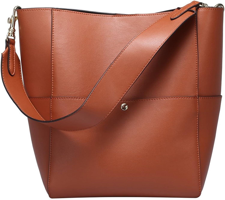 Clocolor Women's Satchel Bucket Tote Shoulder Bag Vintage Hobo Handbag Leather Purse