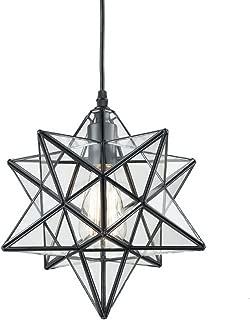 YOBO Lighting Transparent Glass Moravian Star Pendant Chandelier, 12 Inch