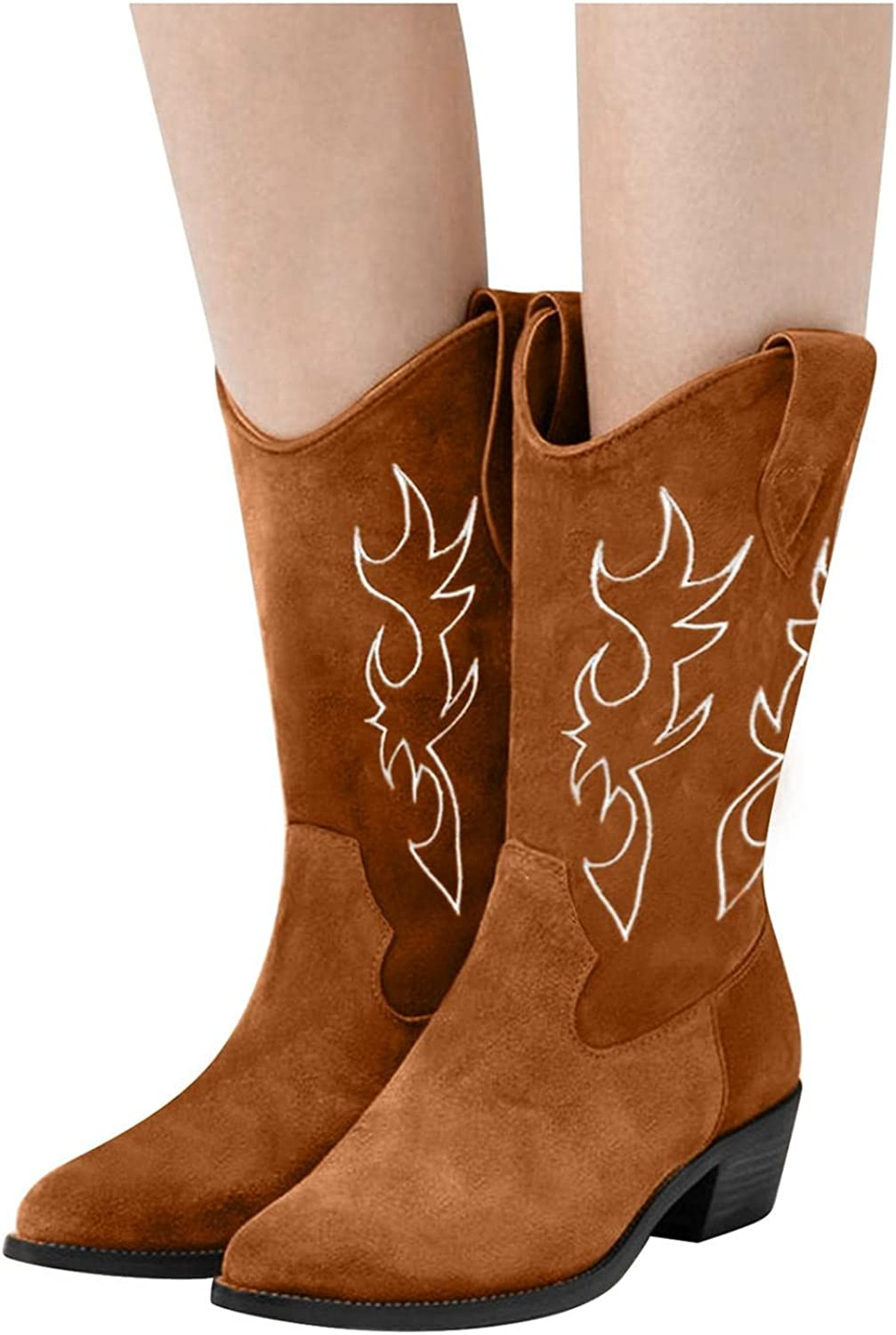 Masbird Free shipping New Western Boots for Excellent Women Sunflowers Embroidery Cowboy Boo