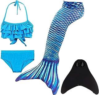 DNFUN Traje de baño de Cola de Sirena para niñas con Princesa de Sirena Traje de baño de Cosplay para Nadar con Bikini y M...