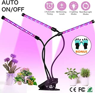 Grow Light, Plant Lights for Indoor Plants, Auto ON/Off Timing Plant Grow Lamp with Red, Blue Spectrum, 10 Dimmable Levels, 3-Head Divide Control Flexible Gooseneck Arm, 3/6/12H Memory Timer (30W)
