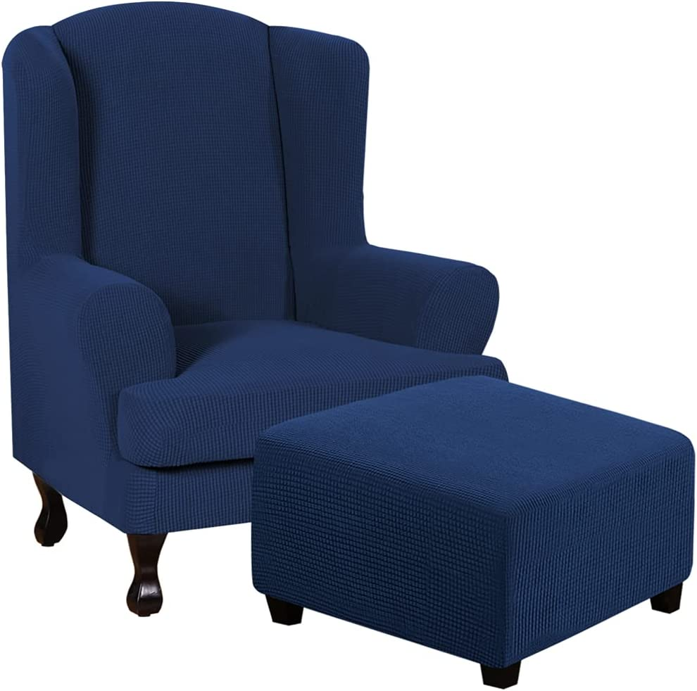 2 Piece Wing Chair Covers Square Ottoman Bargain sale Special sale item Nav Bundles Slipcovers