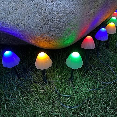 Led Solar Mushroom String Lights, Garden Villa Micro Landscape Mushroom Led Decorative Lantern String, Solar Powered Mushroom Ground Plug Light