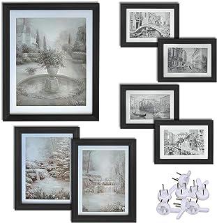 UMI. Essentials Juego de Siete Marcos de Foto de Pie o para Colgar en la Pared: 1 de 20 x 25 cm; 2 de 13 x 18 cm; 4 de 10 x 15 cm (Negro)