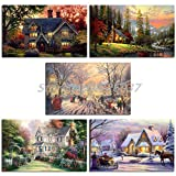 Thomas Kinkade Memories of Christmas Small Town Canvas Painting Wall Art Posters Prints Picture for Living Room Artwork Home Decor 70 * 105cm