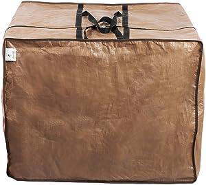 Abba Patio Funda Protectora Impermeable para Cojines de Silla o Banco Bolsa Protectora con Cremallera Medidas 82 x 82 x 61 cm, Color Marrón