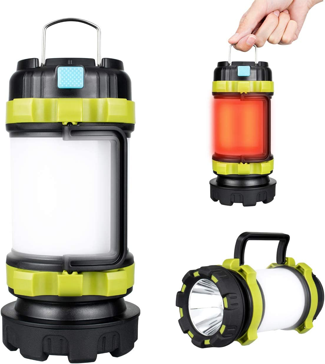 Perfect for Camping Light Hiking Emergency or Home Using Rechargeable Camping Lantern USB Charging Cable Included 6 Modes IPX4 Waterproof LED Lantern Flashlight 4000mAh Power Bank 1 PACK