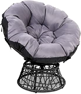 Gardeon Swivel Papasan Chair Indoor Outdoor Furniture Lounge-Black