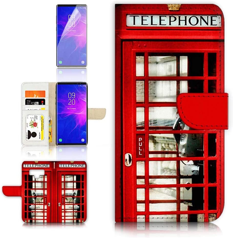 (for Samsung Note 9, Galaxy Note 9) Flip Wallet Case Cover & Screen Protector Bundle - A0096 British UK Red Phone Booth