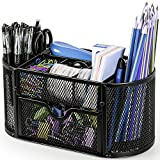 Desk Organizer Mesh Desktop Office Supplies Multi-functional Caddy Pen Holder Stationery with 8 Compartments and 1 Drawer for Office, Home, School, Classroom by Pipishell
