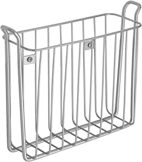 iDesign Classico Wall Mount Newspaper and Magazine Rack for Bathroom - Silver
