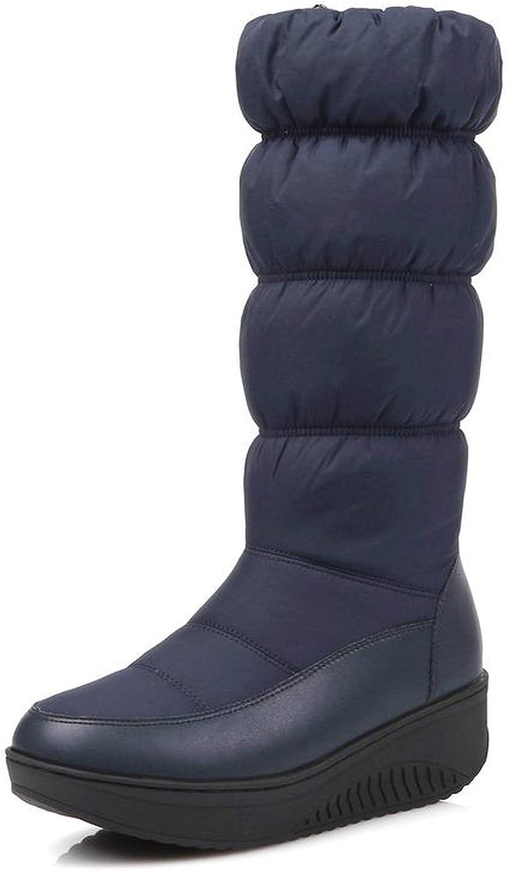 I'm good at you Winter Snow Boots Platform shoes Footwear mid Calf Women Boots Solid color Zipper