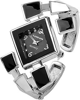 Womens Casual Elegant Silver Tone Rhombus Face Bangle Cuff Bracelet Dress Quartz Watch