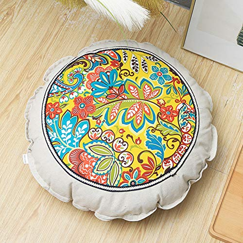 YANNI 55cm ronde vorm vloer kussen, katoenen linnen afneembare zitkussen pad voor yoga Tatami vloer raam stoel mat 55cm(22inch) L