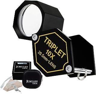 10倍ポケットルーペ20.5mmトリプレットレンズブラックフレーム、アクロマティック光学ガラスメタル(アルミ)ボディ六角形のデザインキットセット宝石商、整備士、時計職人のための拡大鏡ツール