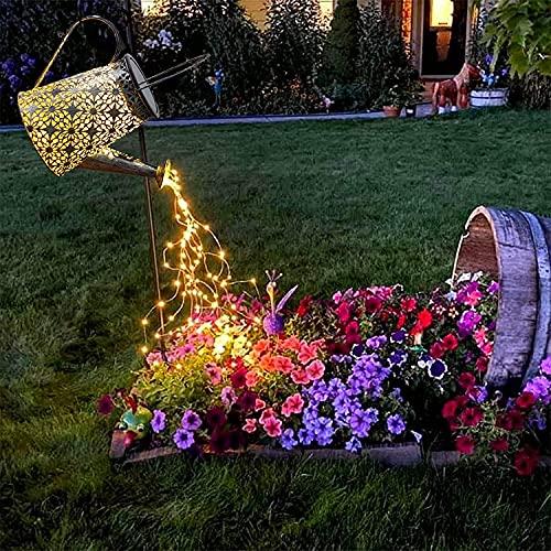 Solar Gießkanne mit Lichterkette Solarlampen für Außen Gießkanne Art LED-Licht mit Schäferhaken, Gartendeko Solar Lichterketten Aussen mit IP67, Star Shower Garten Leuchten…