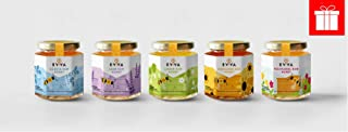 EVVA 100% Pure Raw Honey - Top Quality Organic Honey - Pure Honey in a Glass Jar - FDA Certified Unfiltered Honey - 100% Natural Honey - Moldova Wild Honey …5 Honey Flavors Bundle