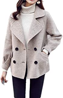 Macondoo Women's Thicken Double Breasted Outwear Woolen Winter Pea Coat Jacket