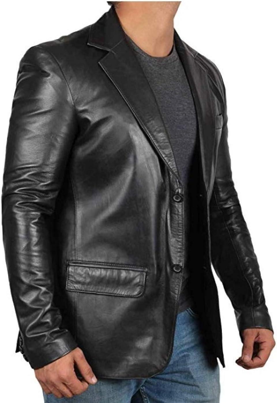 Classic Black Sheepskin Dress Coat Lambskin Leather Blazer Jacket Regular